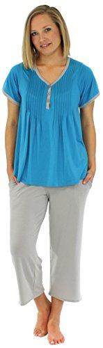 PajamaMania Women's Sleepwear Stretchy Knit Short Sleeve V-Neck Top and Capri Pant Pajama Set, Solid Hawaiian Blue -