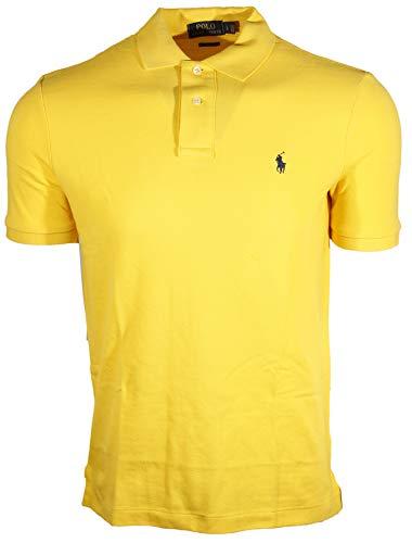 Polo Ralph Lauren Mens Classic Fit Mesh Polo Shirt (L, Deep Yellow (Navy Pony))