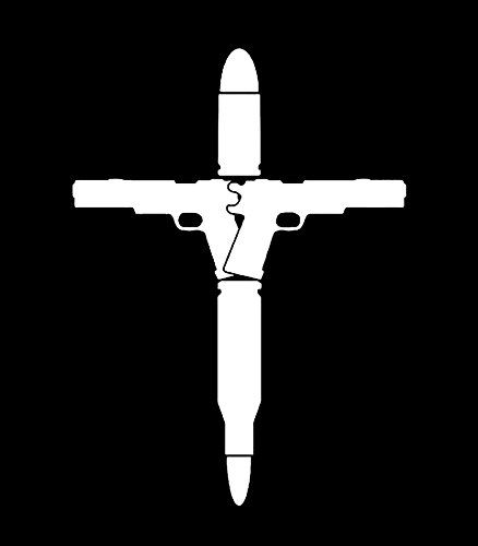 Cross Gun Bullets Molon Labe Vinyl Decal Sticker|Cars Trucks Vans Walls Laptops|WHITE|5.5 In|KCD541