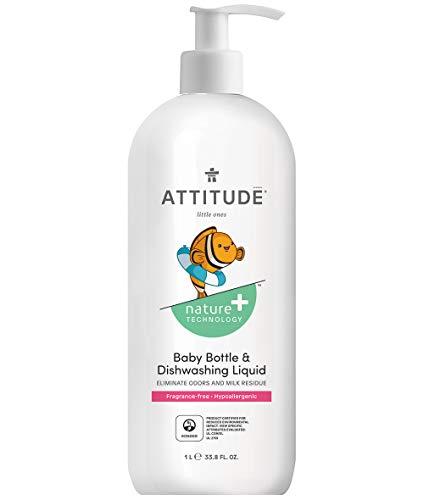 ATTITUDE Nature +, Hypoallergenic Baby Bottle & Dishwashing Liquid, Fragrance Free, 1 Liter, 33.8 fl. oz. (Attitude Baby Detergent)