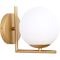 Interior Lighting Wall Sconce Lighting, White Glass Globe, Gold Wall Lamp, Mid-Century Modern Style, Light Fixture for Bedroom, Living… modern wall sconces