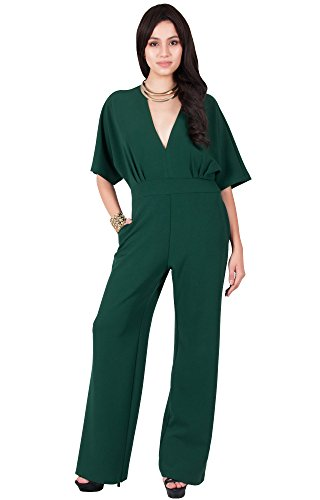 Viris Zamara Plus Size Womens Long Sexy V-Neck Short Sleeve Slimming Pockets Wide Leg Work Office Party Semi Formal Spring Jumpsuit Jumpsuits Pantsuit Playsuit Romper, Dark Green XL 14-16 by Viris Zamara