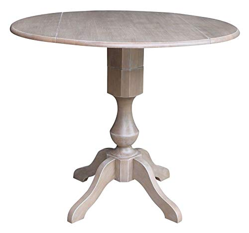 - International Concepts Round Dual Drop Leaf Pedestal Table in Washed Gray Taupe
