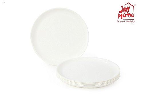Joy Home Microwave Safe Quarter Plates 6 Pcs, Round, White