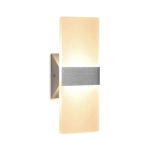 (Wall Sconce 12W LED Modern Wall Lamp Warm White, Acrylic Material Wall Mounted Wall Lights Decorative Wall Sconces)