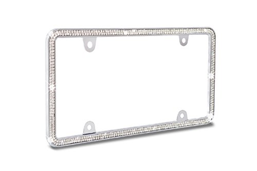 JR2 Shining Double Row Crystal Metal License Plate Frame+Free Screw Caps (White)