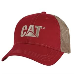 Caterpillar CAT Red Trademark Trucker Mesh Cap