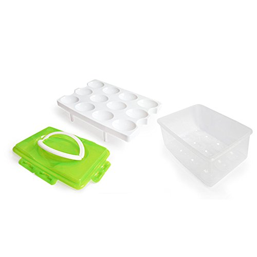 RMay Store HOTUMN Egg Carrier Egg Container 2 Tiers Eggs Holder with Handle Holds 24 Eggs for Refrigerator Freezer Storage (Green) by RMay Store (Image #1)