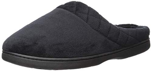 Dearfoams Women's Darcy Microfiber Velour Clog with Quilted Cuff Black Medium US (Clog Slippers For Women)