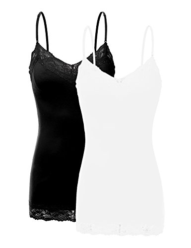 Bozzolo XT1004L Pack Ladies Adjustable Spaghetti Strap Lace Trim Cami Tank Top 2Pack-Blk/White XL