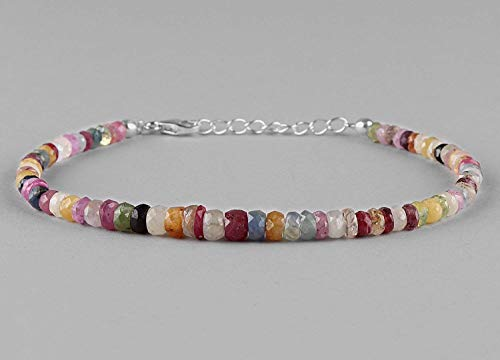 Multi Color Sapphire Gemstone Natural Beads Bracelet Dainty Jewelry 925 Sterling Silver Chain September Birthstone