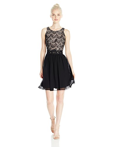 A. Byer Women's Lace Bodice Fit and Flare Dress, Black, 5