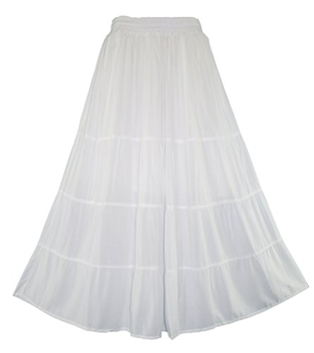 Beautybatik White BOHO Gypsy Long Maxi Tiered Skirt 3X