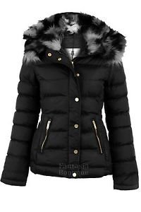 Ladies Quilted Padded Celeb Hooded Black Grey Fur Bubble Jacket ...