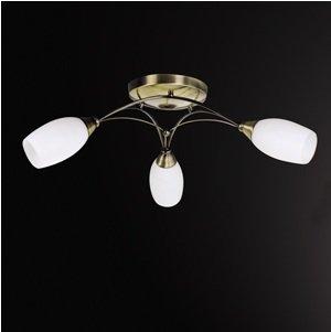 Cristal opaco 3 luces Semi Plafón de latón antiguo techo ...