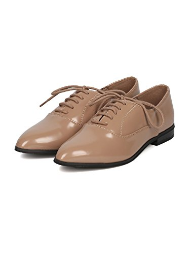 Pointy Breckelle's Up Toe Natural Women Polished GG51 Loafer Leatherette Lace wqxptBUqv