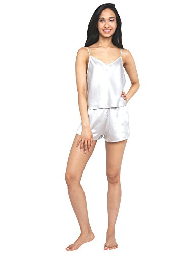 a2ff10e17b MYK 22 Momme Pure Mulberry Silk Camisole and Shorts Value Set for Women
