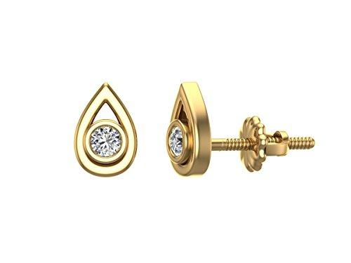 Diamond Earrings Tear-Drop Shape Studs 10K Yellow Gold - Bezel Setting Screw Back Posts (0.10 carat total)