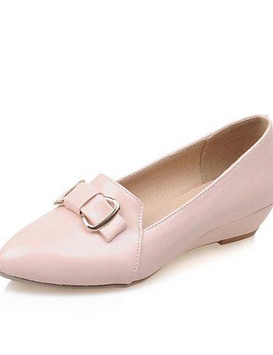 ZQ Zapatos de mujer - Tac¨®n Cu?a - Cu?as / Puntiagudos - Planos - Oficina y Trabajo / Vestido / Casual - Semicuero - Azul / Rosa / Beige , pink-us8 / eu39 / uk6 / cn39 , pink-us8 / eu39 / uk6 / cn39 blue-us5 / eu35 / uk3 / cn34