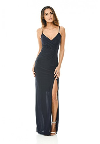 AX Paris Women's Slinky Maxi Dress With Wrap Front V Neck(Navy, Size:10)