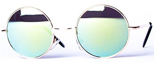 à couleurs Lunettes différentes rond Miroir ressort 8058 Or de rétro arrondi charnière ronds verres et style Or soleil OxSrvw4qO