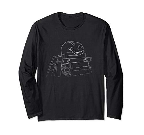 Kitten Long Sleeved T-shirt - Cute cat sleeping on books long-sleeved t-shirt
