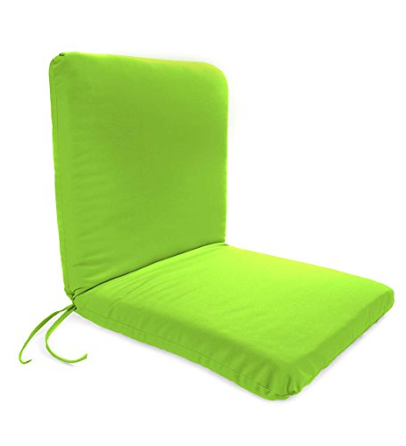 Plow & Hearth Classic Polyester Outdoor Chair Cushion with Ties, Seat 19'' x 17'' x 2.5''; Back 19'' x 19'' x 2.5'' - Greenery