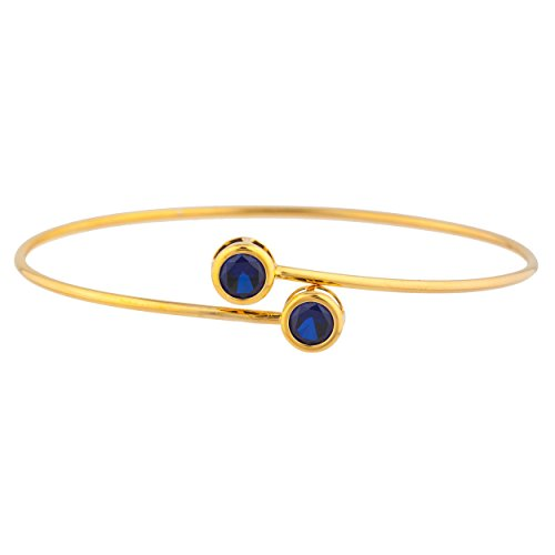 Created Blue Sapphire Round Bezel Bangle Bracelet 14Kt Yellow Gold Plated Over .925 Sterling Silver