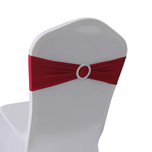 (Cherry Red Spandex Chair Bands Sashes - 100 pcs Wedding Banquet Party Event Decoration Chair Bows Ties (Cherry Red, 100)