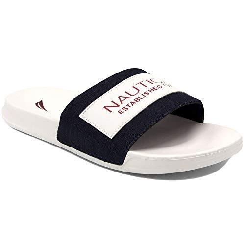 (Nautica Men's Altair 2 Athletic Slide, Comfort Sandal, Shower Slide-Altair 2-Denim/White-8 )