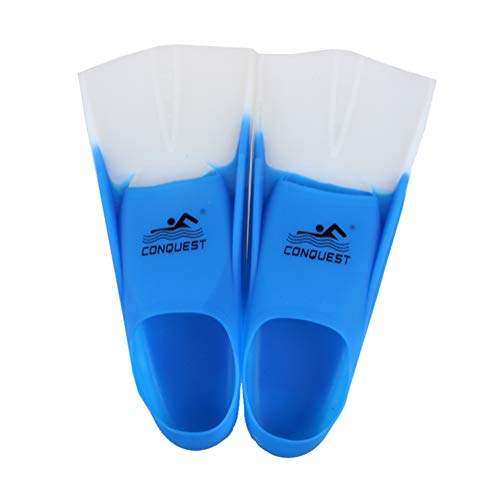TOPCHAMCES(TM) Rubber Swim Training Fins Flippers for Men, Women and Kids, Short Training Fins for Swimming (Blue +White, F800(XL) 42-44)