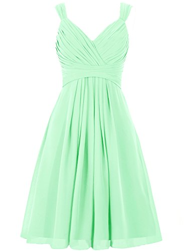 H.S.D Women's V Neck Straps Chiffon Bridesmaid Dress Short Pleated Prom Gown Mint Green