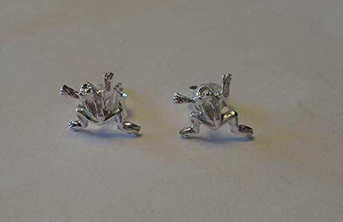 Sterling Silver TINY 9x9mm Bright Open leg Frog Toad Studs Posts Earrings!