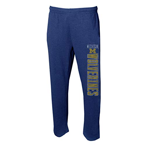 Concepts Sport Men's NCAA Vintage Retro-Squeeze Play-Pajama Pants-Heathered-Michigan Wolverines-Blue-Large