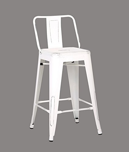 Ac Pacific Modern Industrial Metal Barstool With Bucket Back And 4 Leg Design  24  Seat Bar Stools  Set Of 2   Distressed White Finish