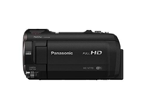 PANASONIC HC-V770 Full HD Camcorder,  20X Optical Zoom, 1/2.3″ BSI Sensor, 5-Axis Hybrid O.I.S., HDR Capture, WiFi  Smartphone Twin Video Capture (USA Black)