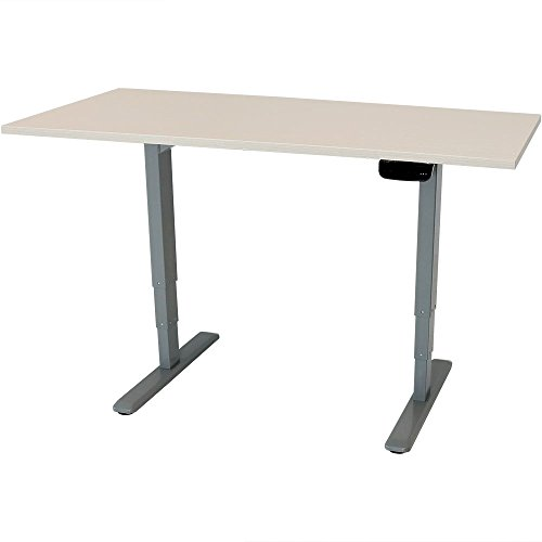 CASL Brands Electric Standing Desk, Height-Adjustable Sit to Stand Up Workstation, Programmable Memory, 59 x 27 Inches, Whitewash