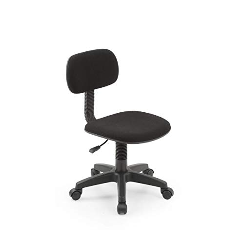 Hodedah Armless, Low-Back, Adjustable Height, Swiveling Task Chair with Padded Back and Seat in Black