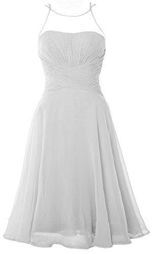 Cocktail Dress MACloth Party Gown Chiffon Short Illusion Formal Wedding Elegant Weiß q7t64SxO