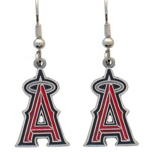 (MLB Dangling Earrings - Anaheim Angels Logo)