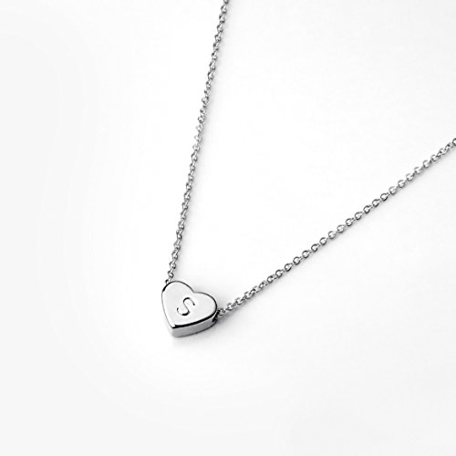 Heart Initials Necklace (Dainty Jewelry Silver Initial Necklace Valentine's Day Gifts for Her Personalized Necklace Heart Necklace - FHN (S))