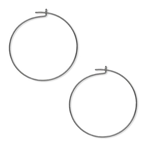 24 Plain 1 inch Round Ring Hoop Wire Findings for Earrings & Wine Glass Charms (Gunmetal)