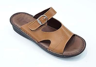 LEMEX Tan Comfort & Medical Slipper for Women