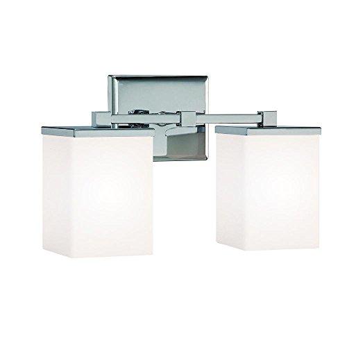 Two Light Reversible Lighting (Langdon Mills Camdale 2-Light Chrome Bathroom Vanity Light Fixture Reversible Modern Minimalist)