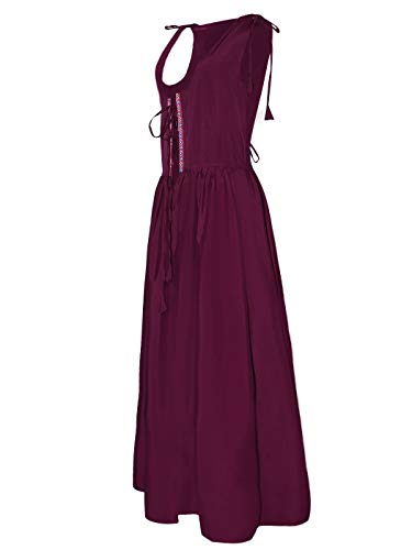(Anna-Kaci Womens Renaissance Medieval Irish Costume Inspired Long Over Dress, Burgundy,)