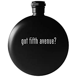 got fifth avenue? - 5oz Round Drinking Alcohol Flask, Matte Black