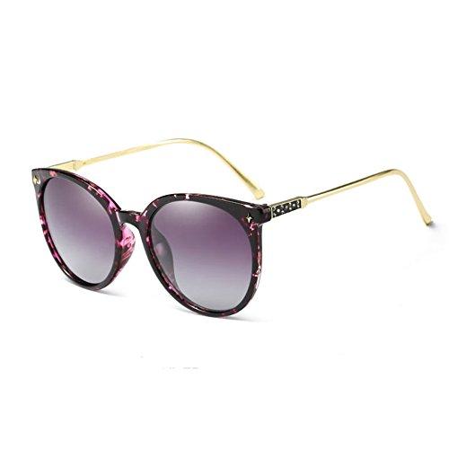 Oval Round Polarized Sunglasses Women Cateye Brand Designer Ladies Eyeglasses (Purple/Leopard) (Ray Ben Brille)