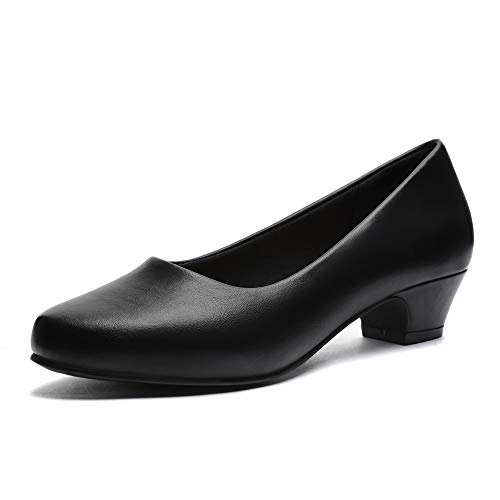 GUCHENG Chunky Heels Pumps Low Shoes Women's - Dress Ladies Heel Comfortable - Formal Width Black Brown White Wedding Shoes (9 M US, Black