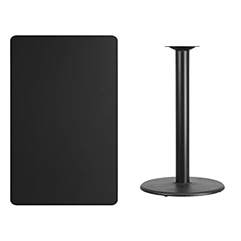 30'' x 48'' Rectangular Black Laminate Table Top with 24'' Round Bar Height Table Base (Rectangular Table Base)