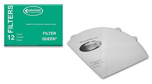 EnviroCare Replacement Vacuum Filter Cones for Filter Queen Vacuums 12 Cones and 2 Filters ()